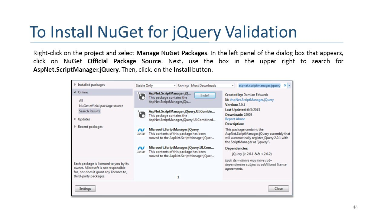 To Install NuGet for jQuery Validation