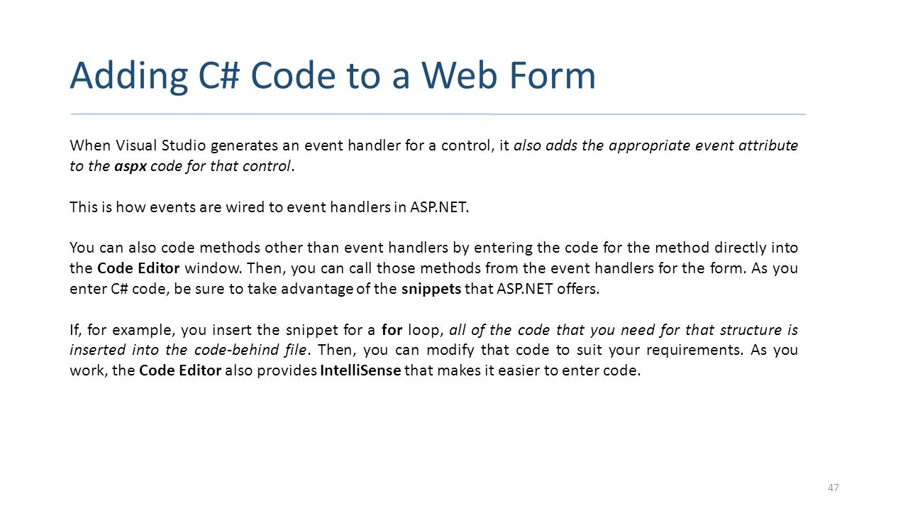 Adding C# Code to a Web Form