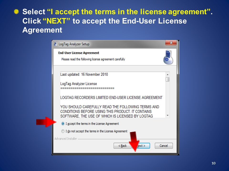 Select I accept the terms in the license agreement