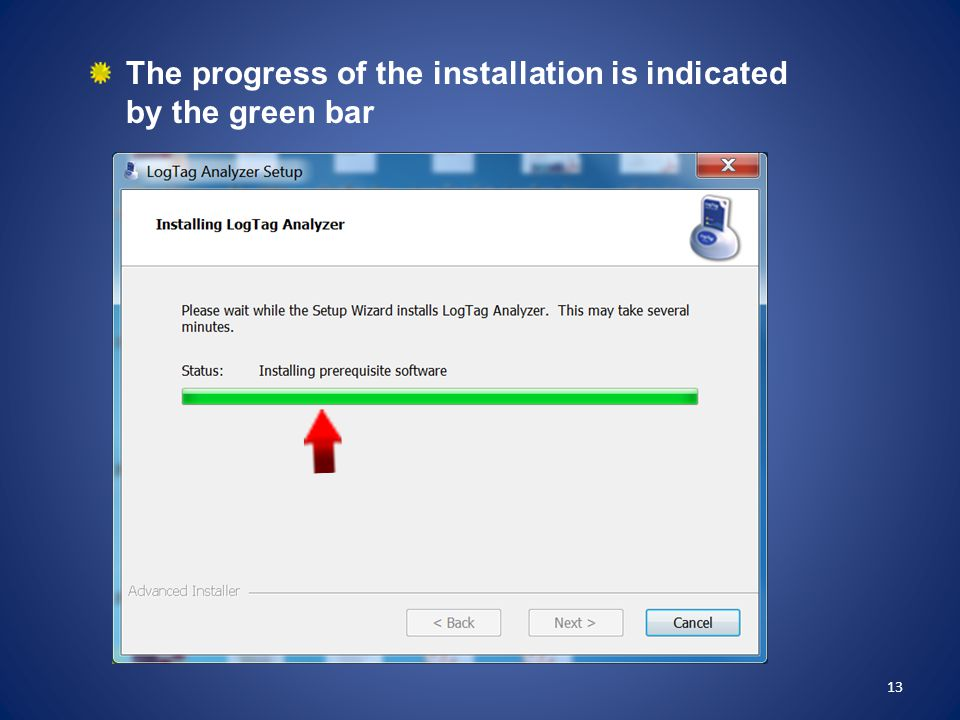 The progress of the installation is indicated by the green bar