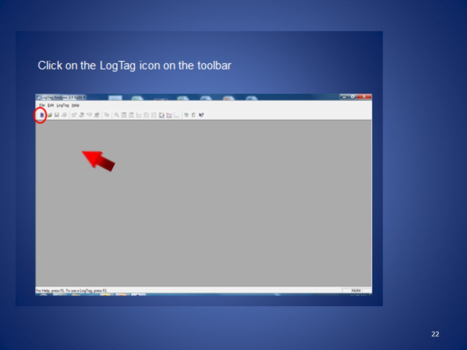 Now click on the LogTag icon in the upper left corner of your screen – it looks like a tiny cell phone.