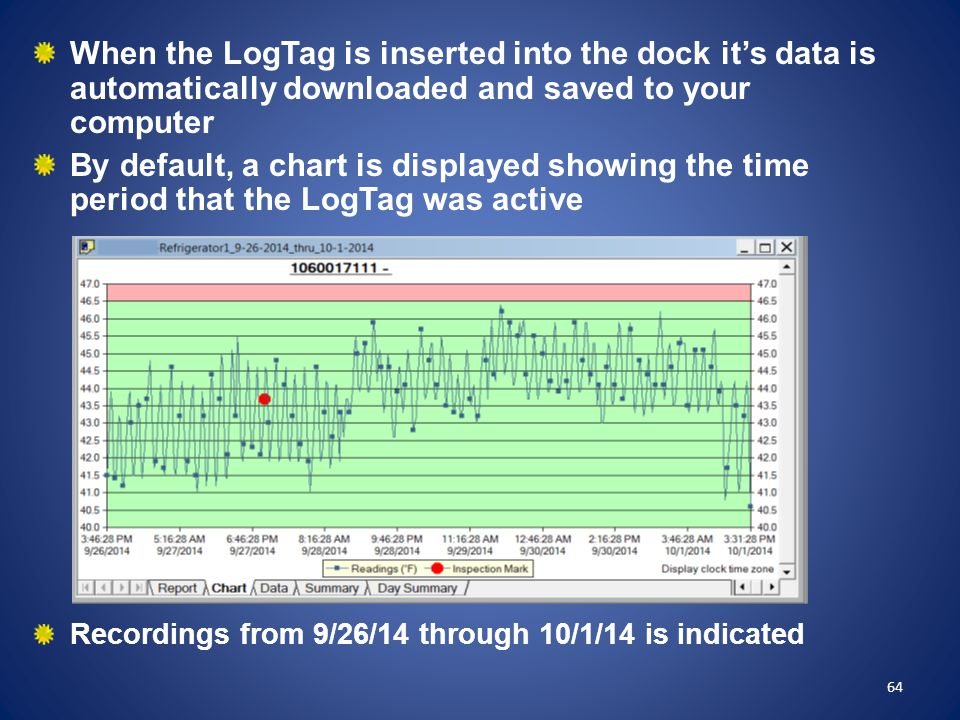 When the LogTag is inserted into the dock it's data is automatically downloaded and saved to your computer