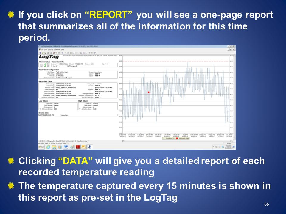 If you click on REPORT you will see a one-page report that summarizes all of the information for this time period.