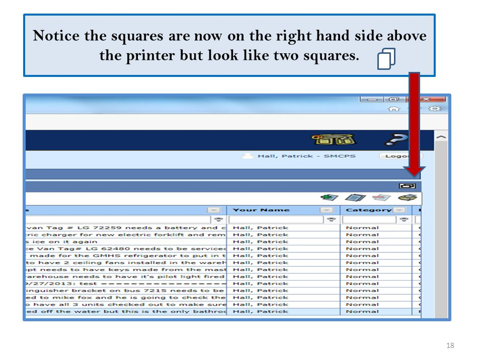 Notice the squares are now on the right hand side above the printer but look like two squares.