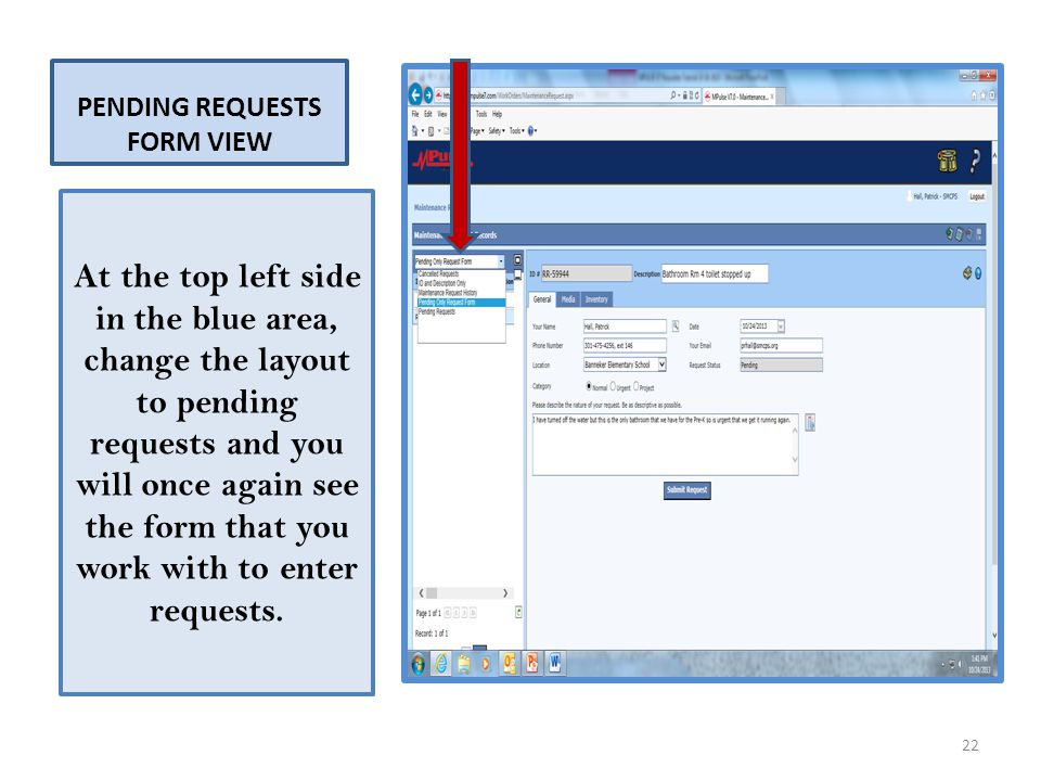 PENDING REQUESTS FORM VIEW