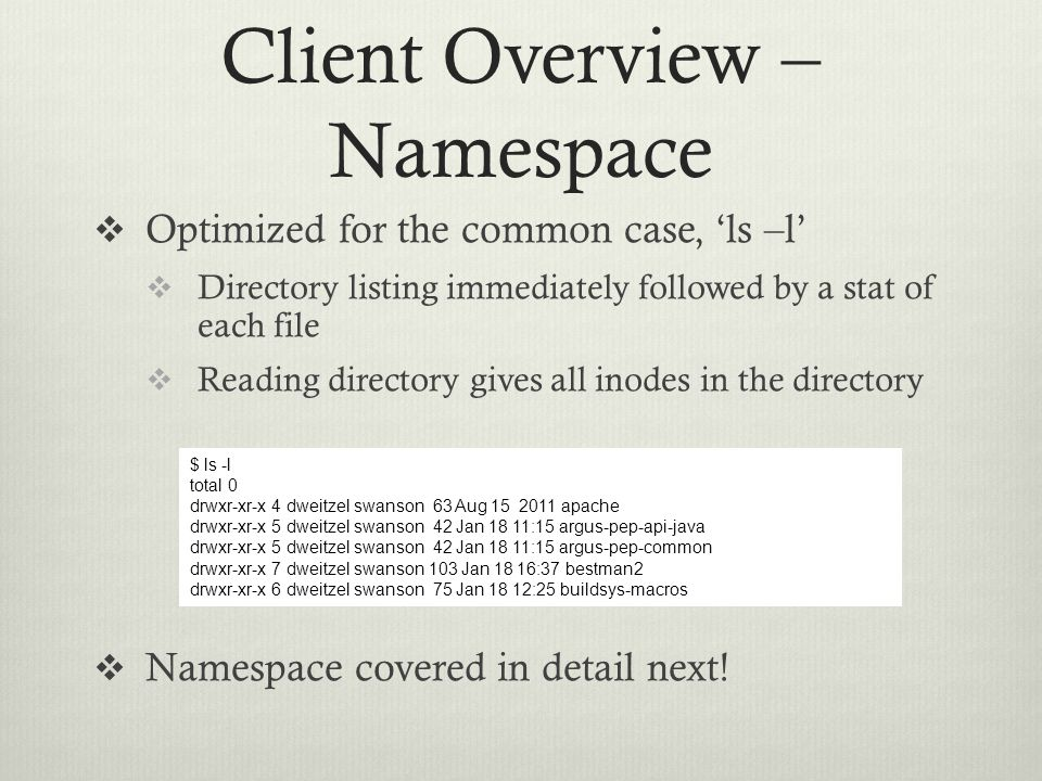 Client Overview – Namespace