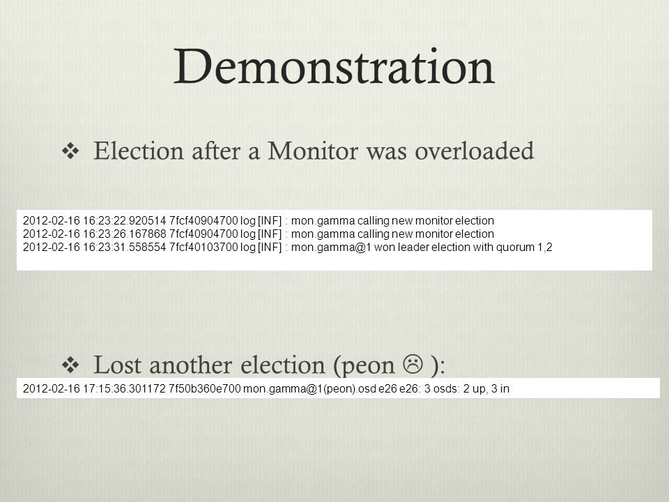 Demonstration Election after a Monitor was overloaded