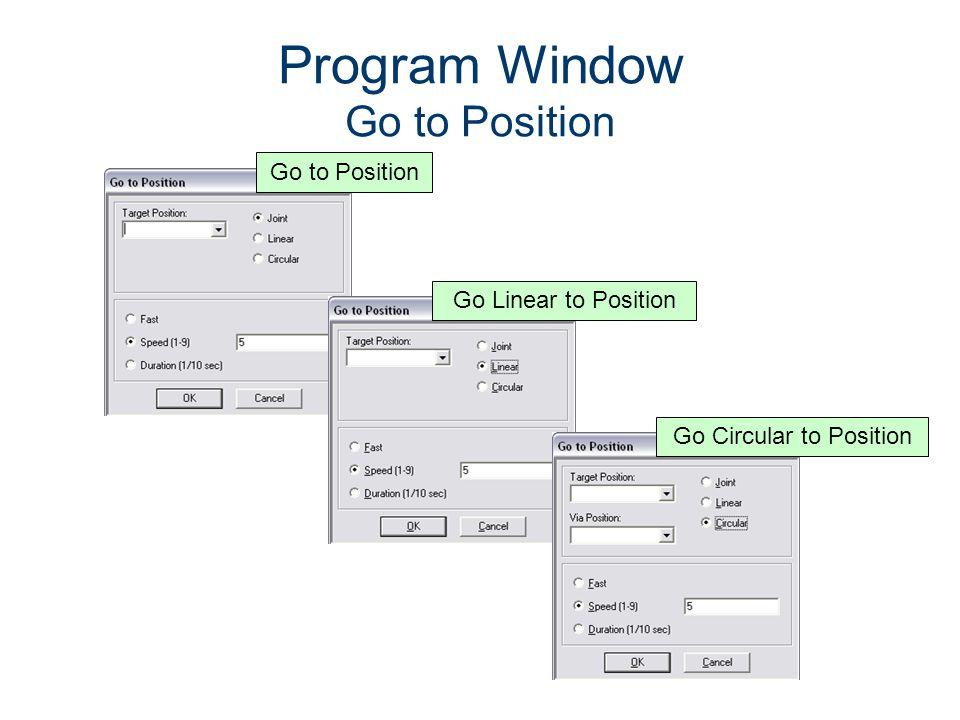 Program Window Go to Position