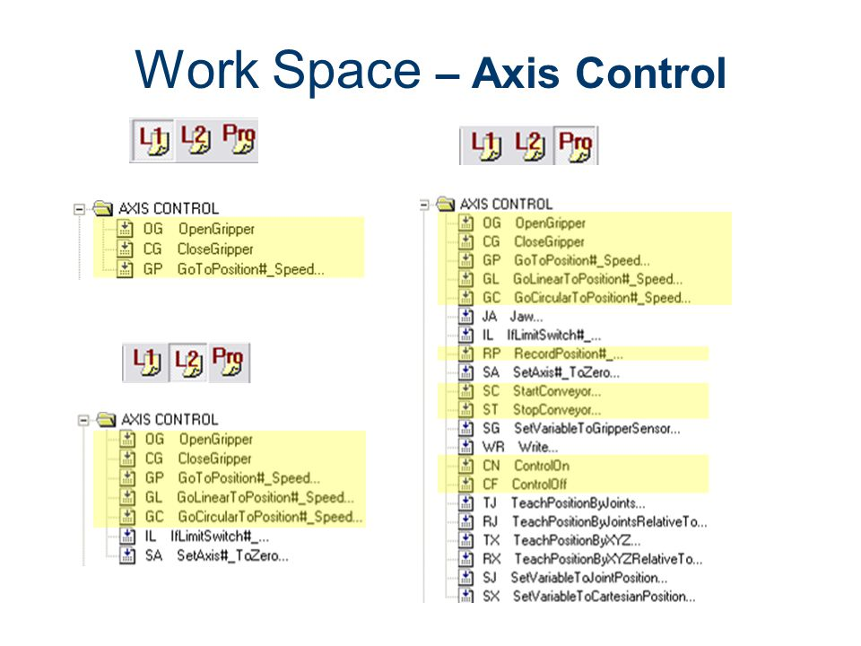 Work Space – Axis Control