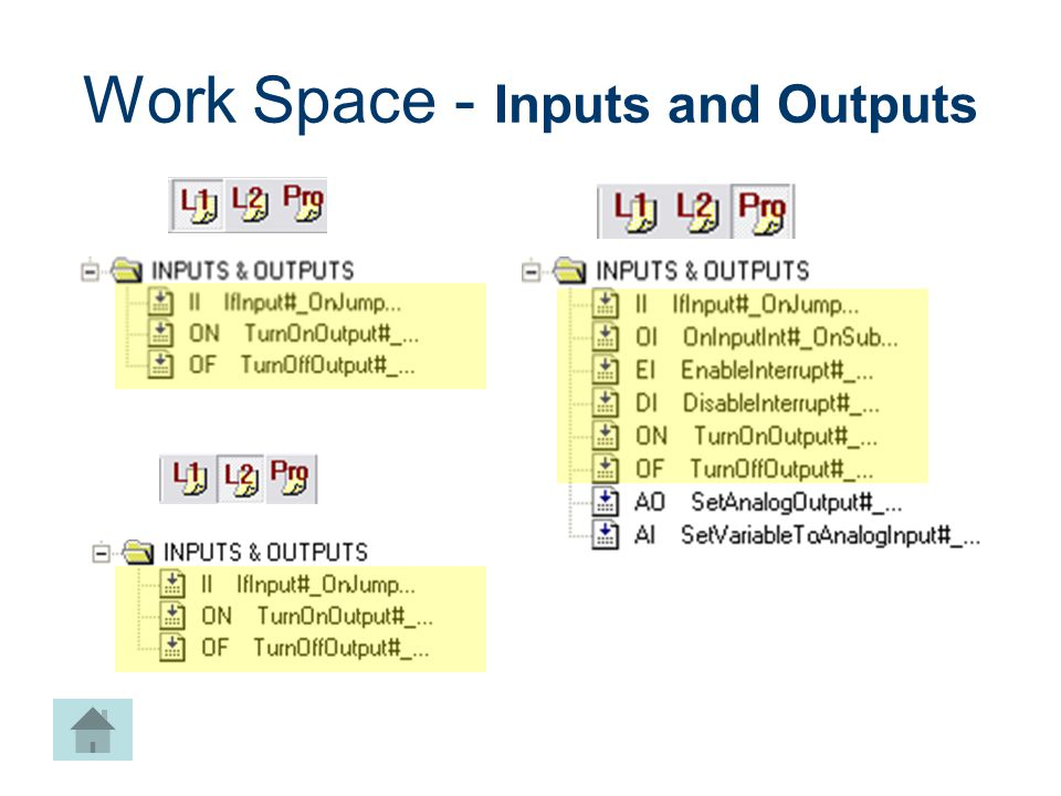 Work Space - Inputs and Outputs