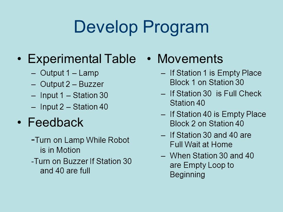Develop Program Experimental Table Feedback Movements