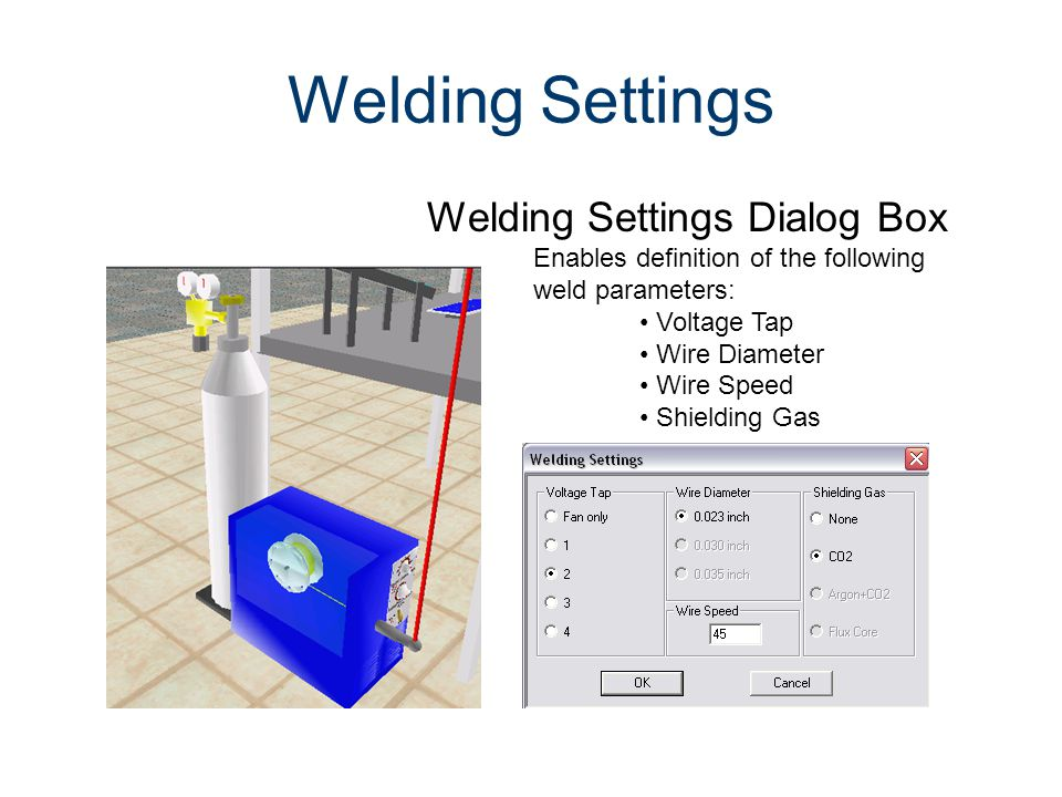 Welding Settings Welding Settings Dialog Box Machines CIM Machining