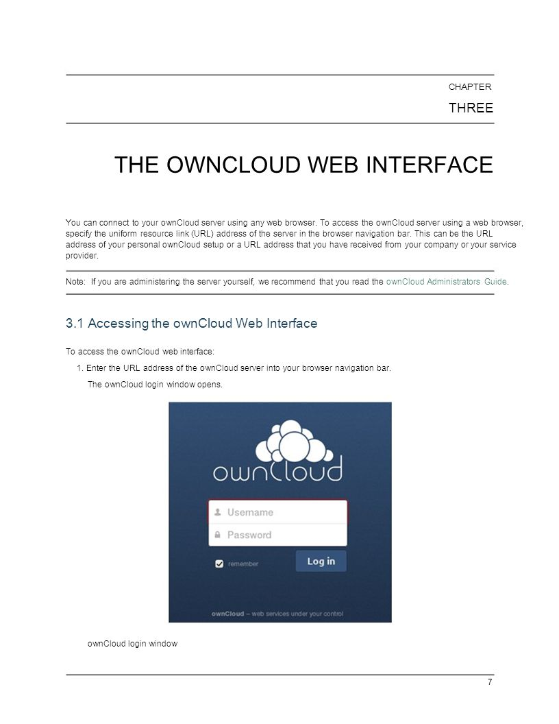 THE OWNCLOUD WEB INTERFACE