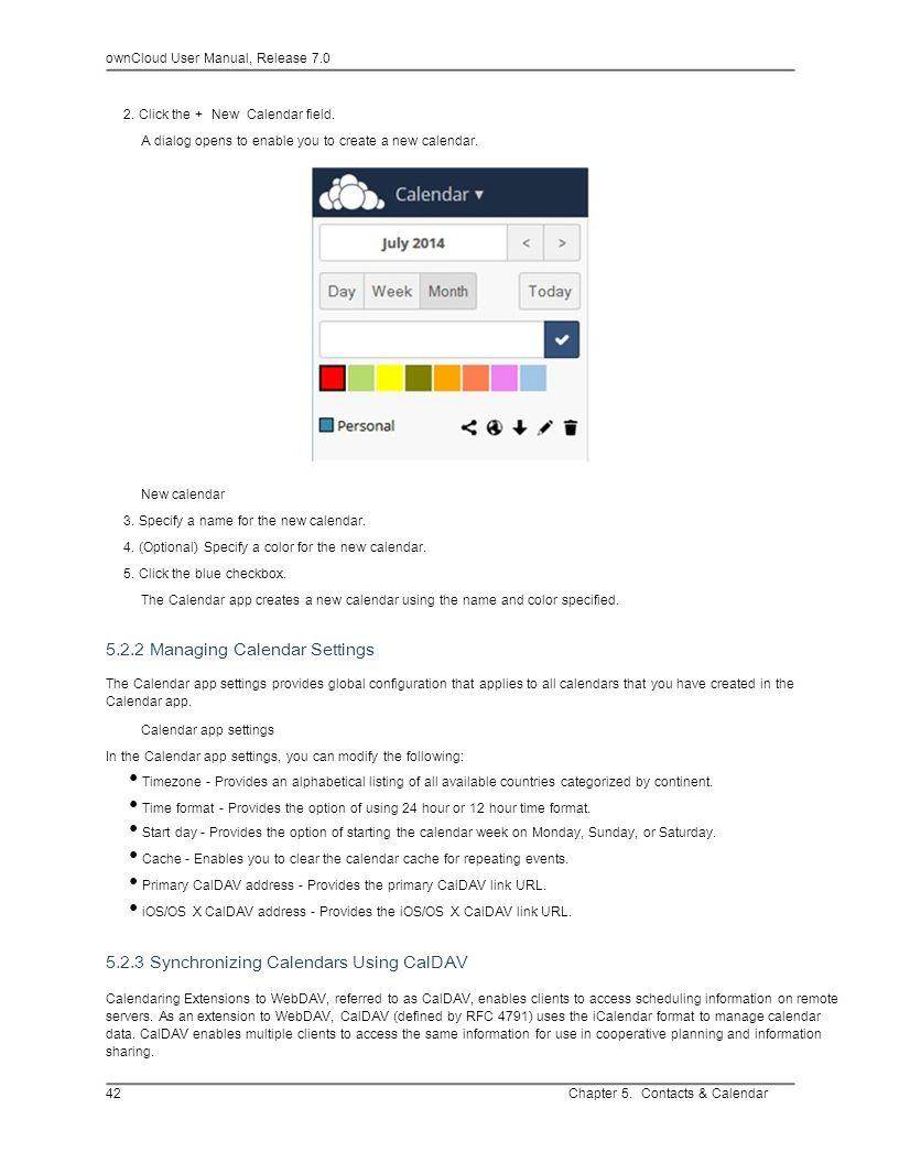 • Primary CalDAV address - Provides the primary CalDAV link URL.
