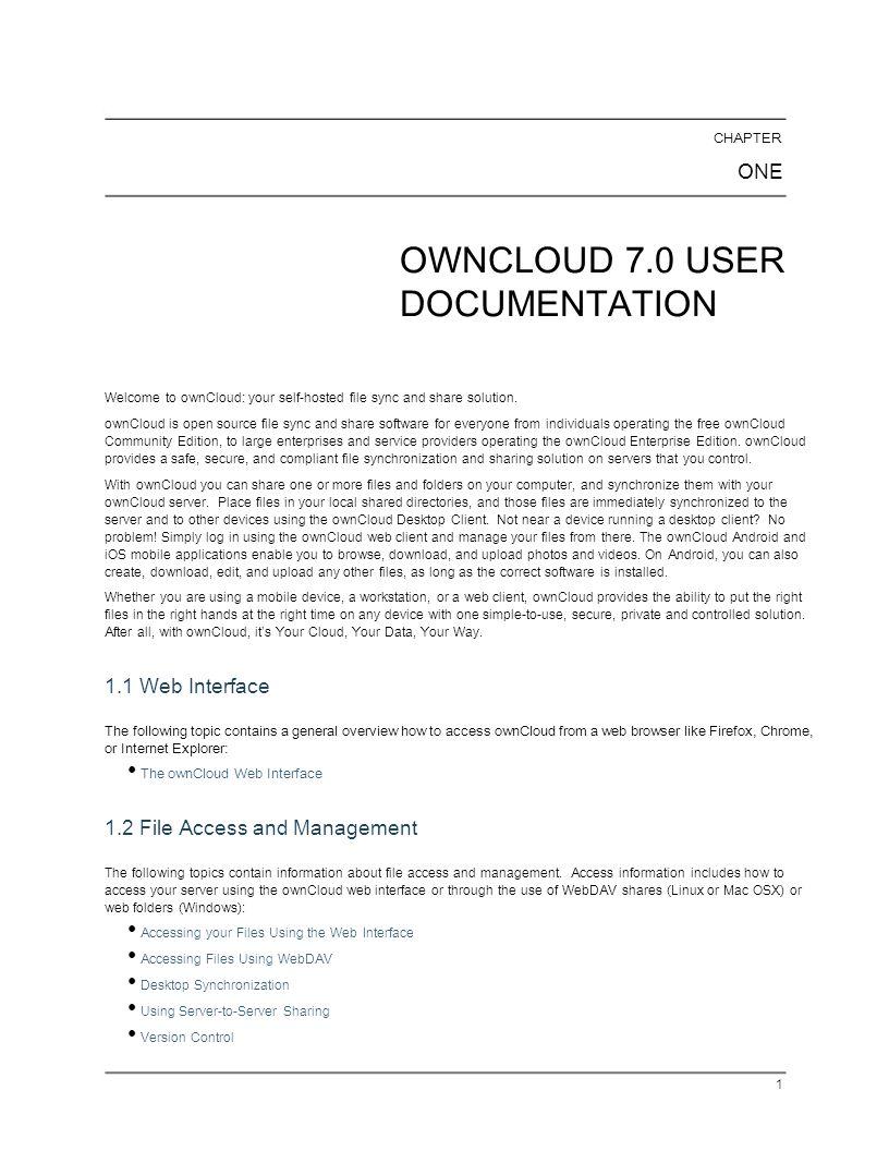 OWNCLOUD 7.0 USER DOCUMENTATION
