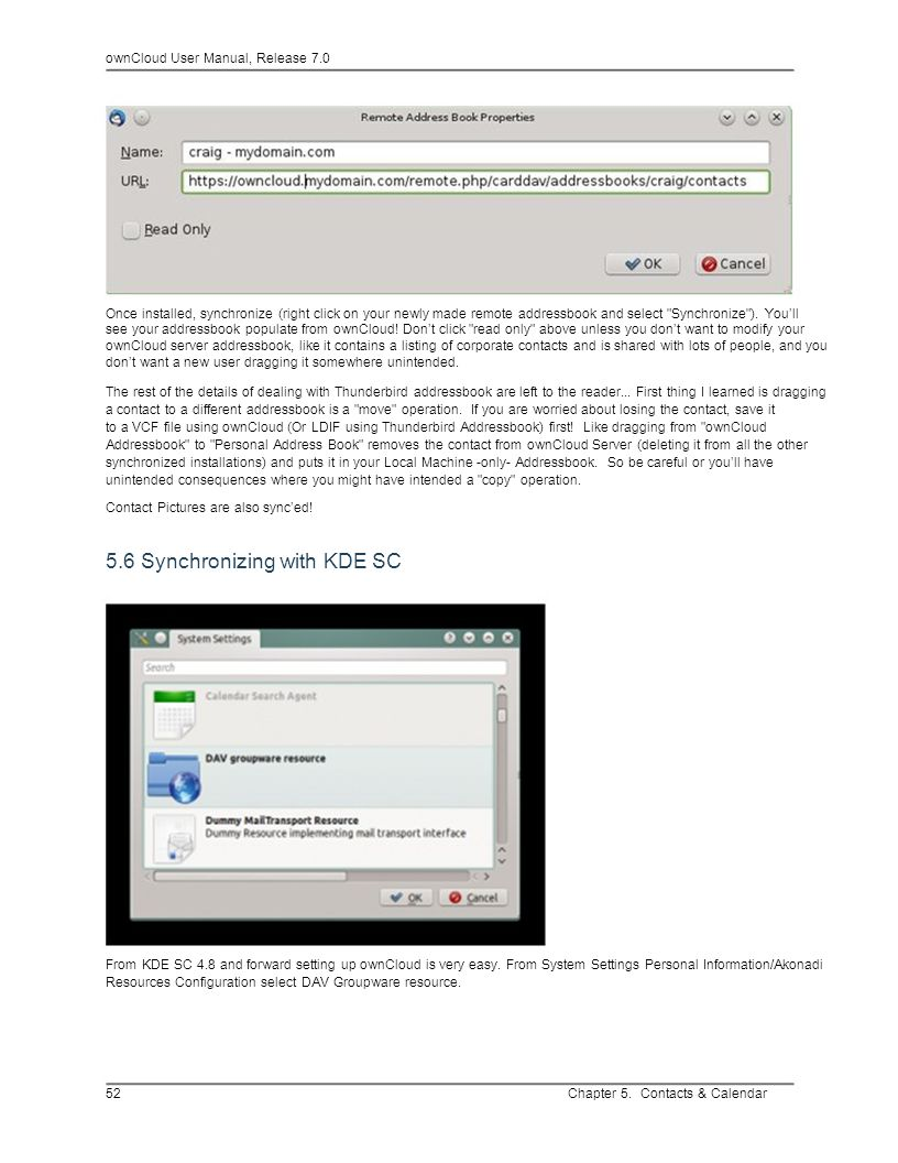 5.6 Synchronizing with KDE SC
