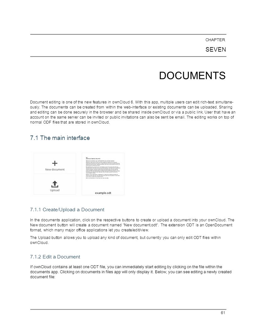 DOCUMENTS SEVEN 7.1 The main interface 7.1.1 Create/Upload a Document