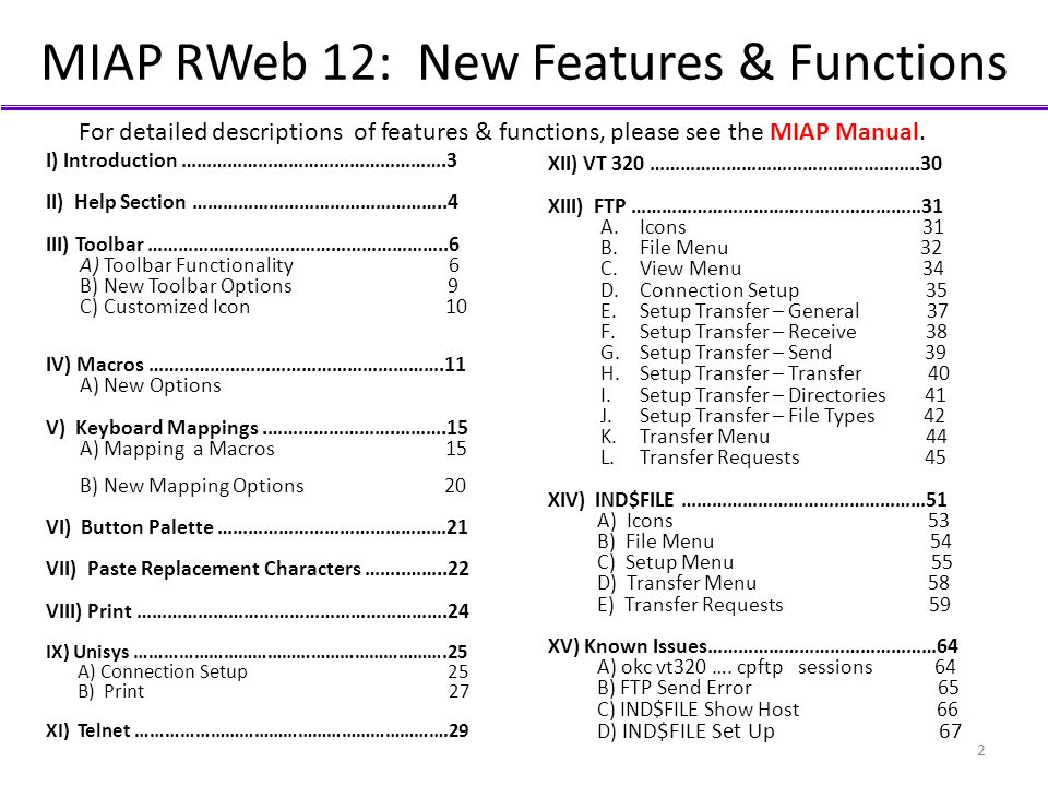 MIAP RWeb 12: New Features & Functions