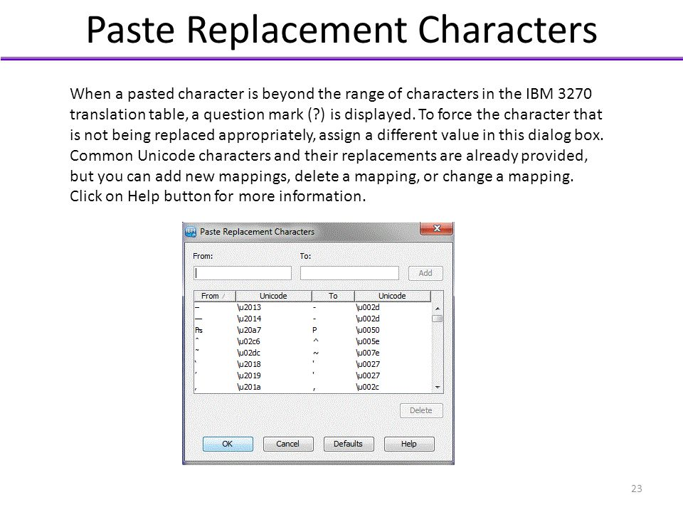 Paste Replacement Characters