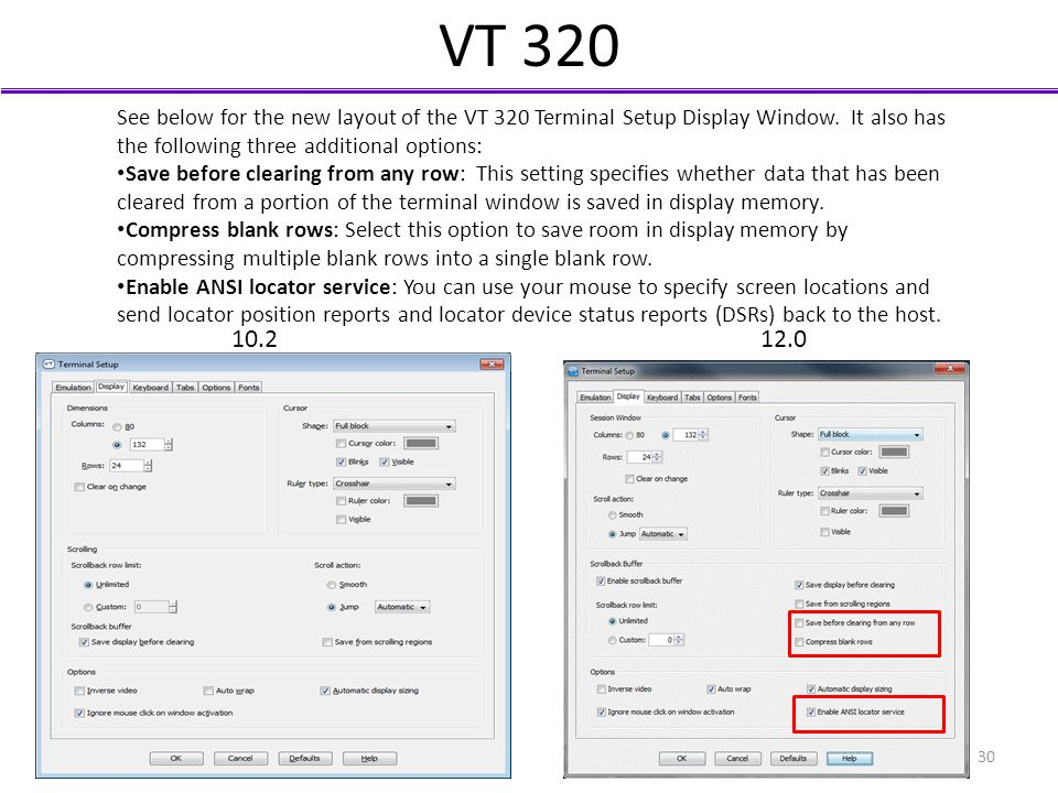 VT 320 See below for the new layout of the VT 320 Terminal Setup Display Window. It also has the following three additional options: