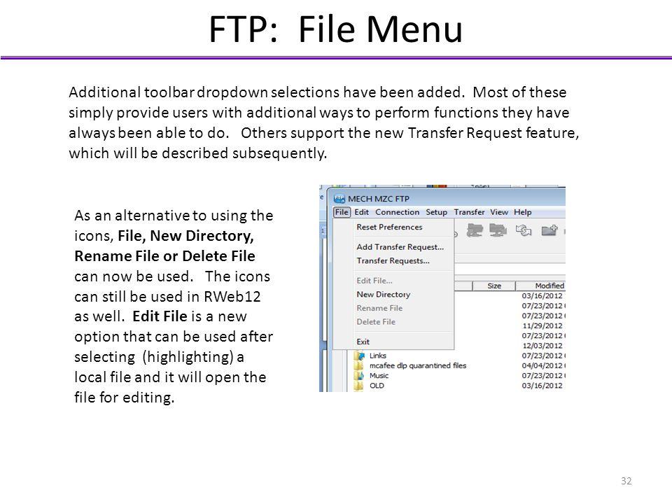 FTP: File Menu