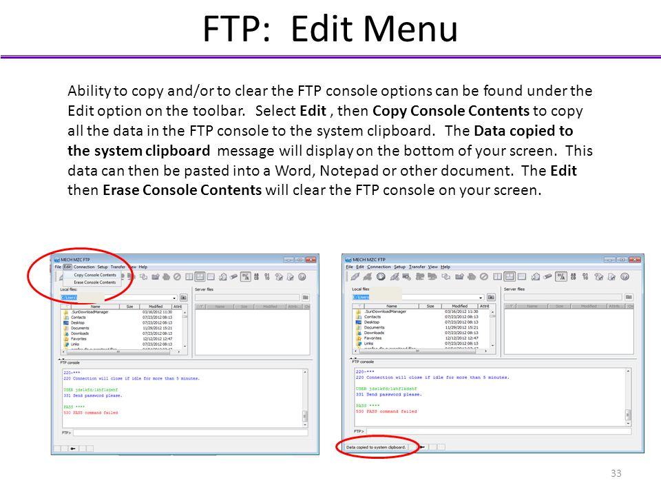 FTP: Edit Menu