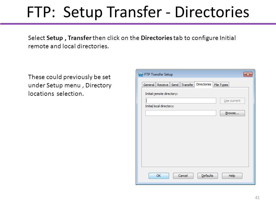 FTP: Setup Transfer - Directories