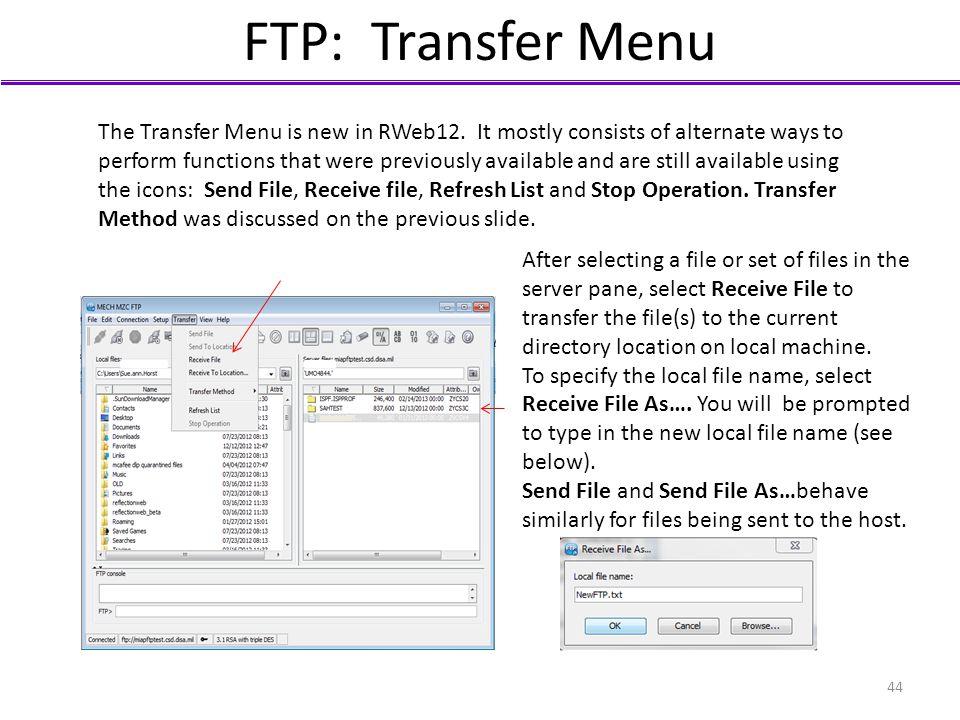 FTP: Transfer Menu