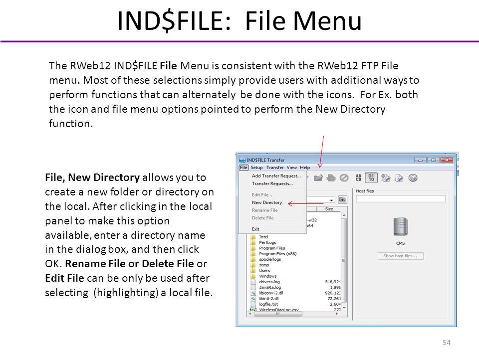 IND$FILE: File Menu