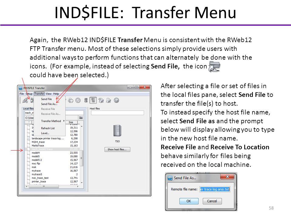 IND$FILE: Transfer Menu