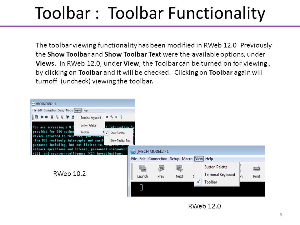 Toolbar : Toolbar Functionality