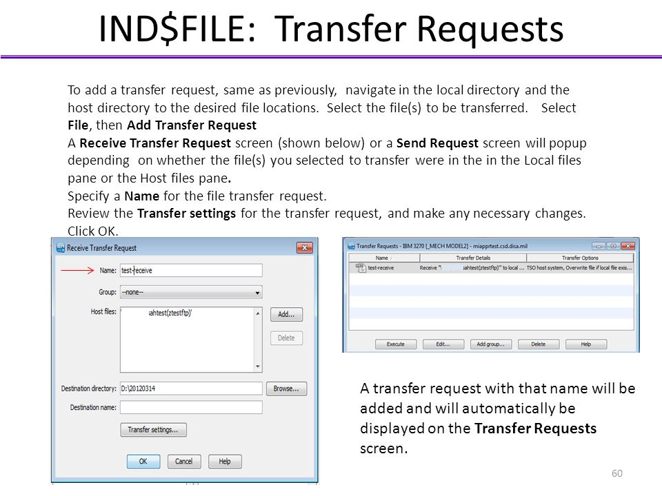 IND$FILE: Transfer Requests