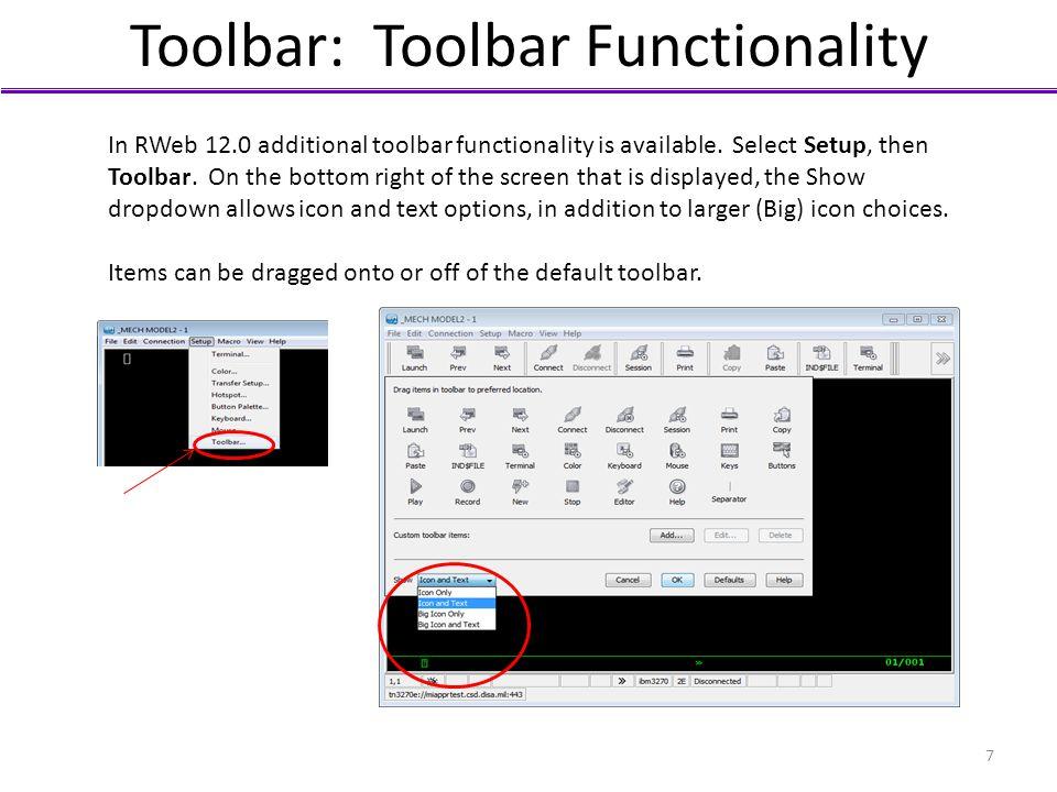 Toolbar: Toolbar Functionality