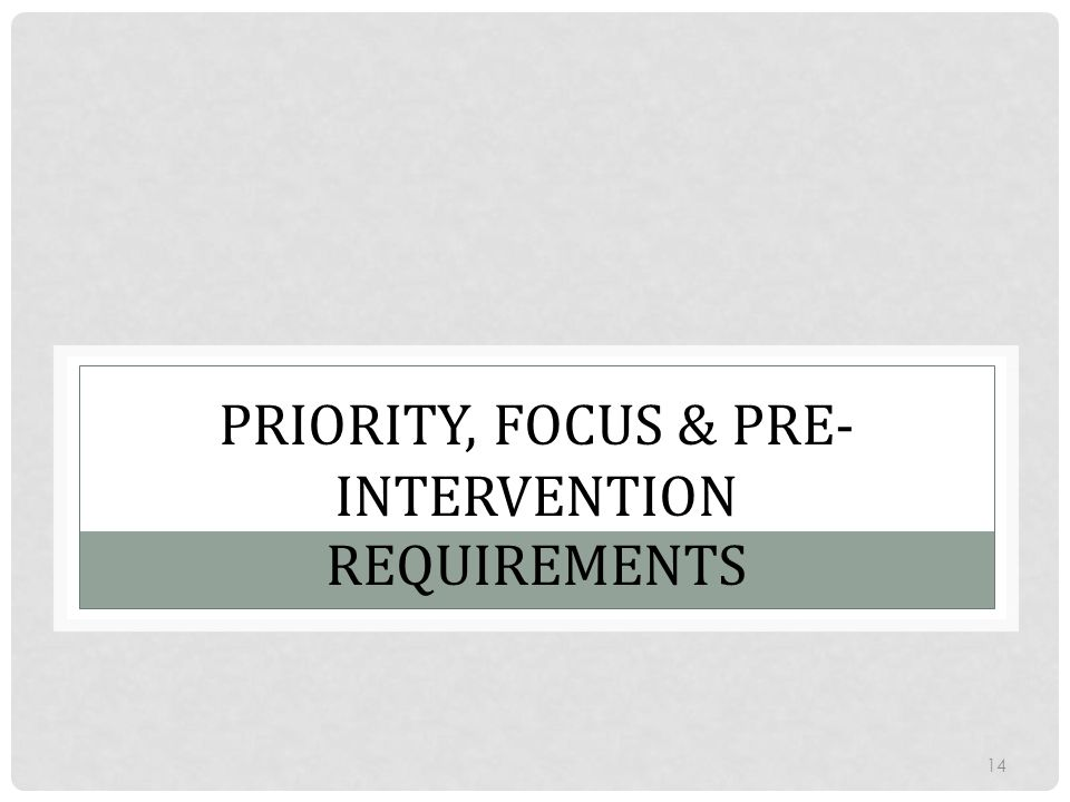 Priority, Focus & Pre-Intervention Requirements