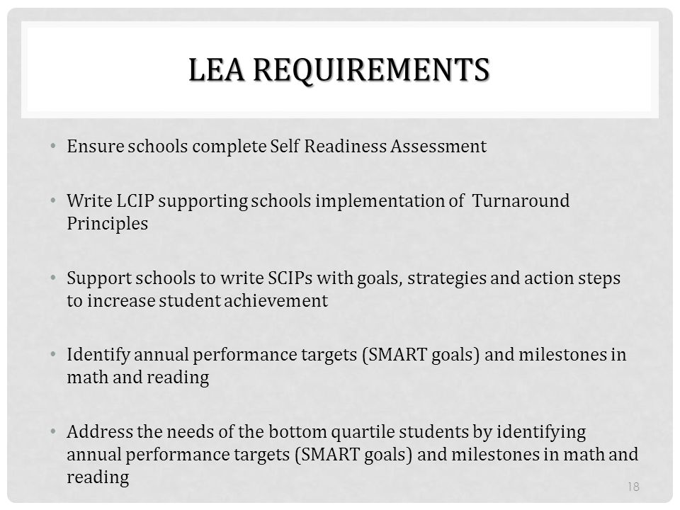 Lea Requirements Ensure schools complete Self Readiness Assessment