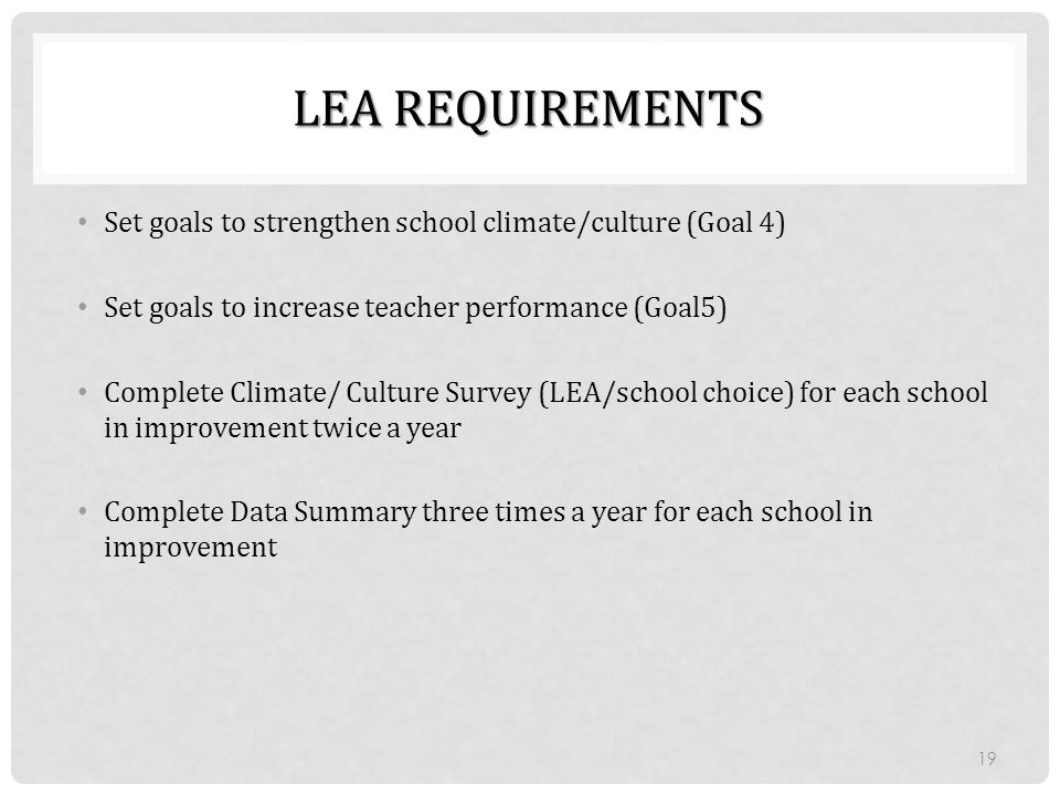 Lea Requirements Set goals to strengthen school climate/culture (Goal 4) Set goals to increase teacher performance (Goal5)