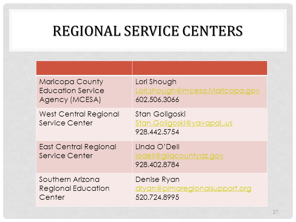 Regional Service Centers
