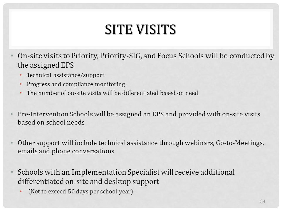 SITE VISITS On-site visits to Priority, Priority-SIG, and Focus Schools will be conducted by the assigned EPS.