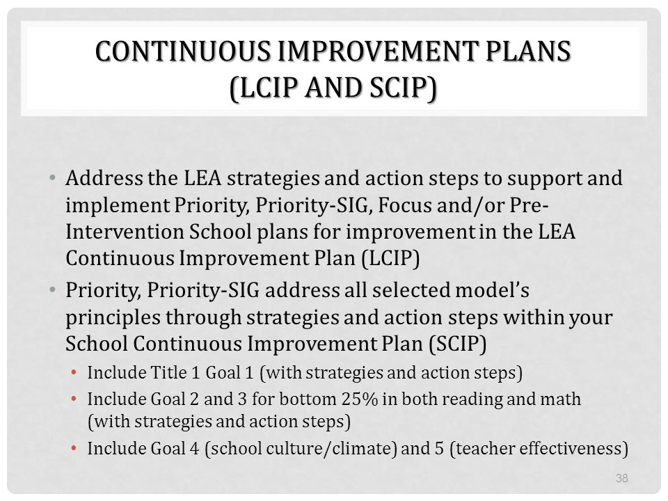 Continuous Improvement Plans (LCIP and SCIP)
