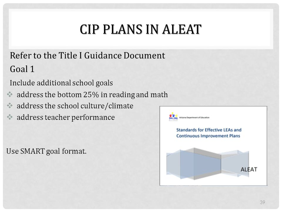 CIP Plans in ALEAT Refer to the Title I Guidance Document Goal 1