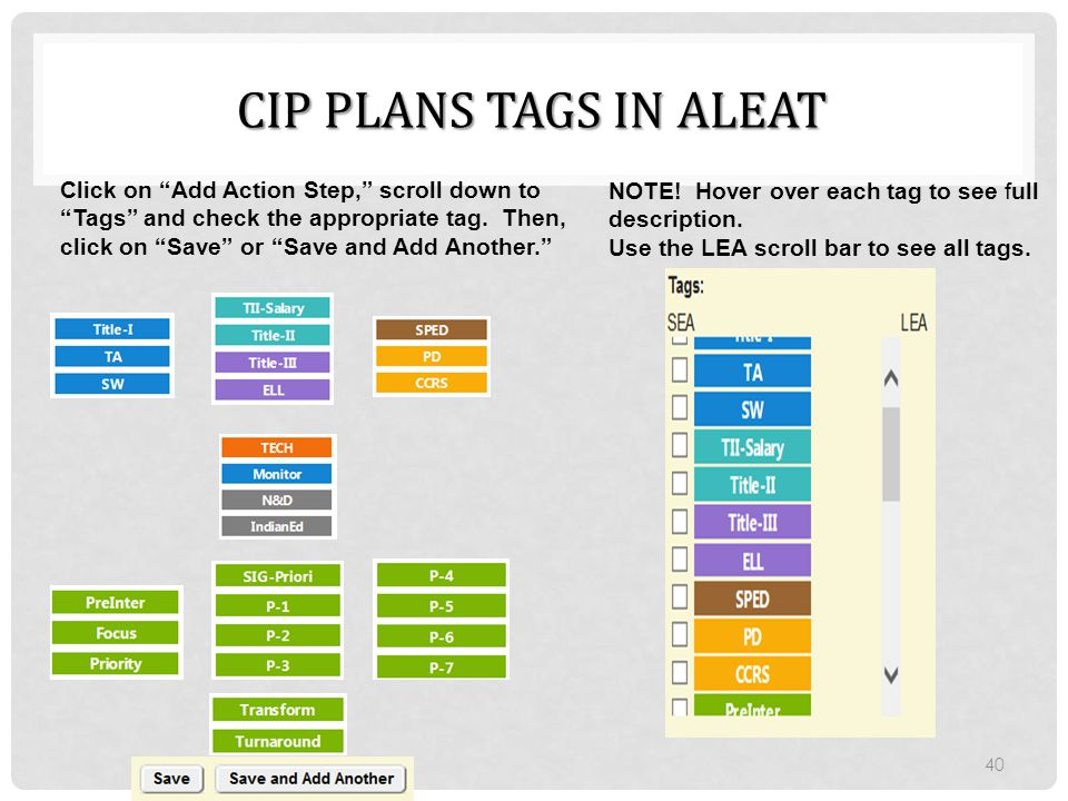 CIP Plans tags in aleat