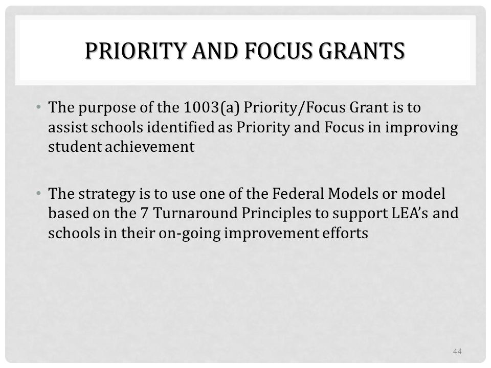 Priority and Focus Grants