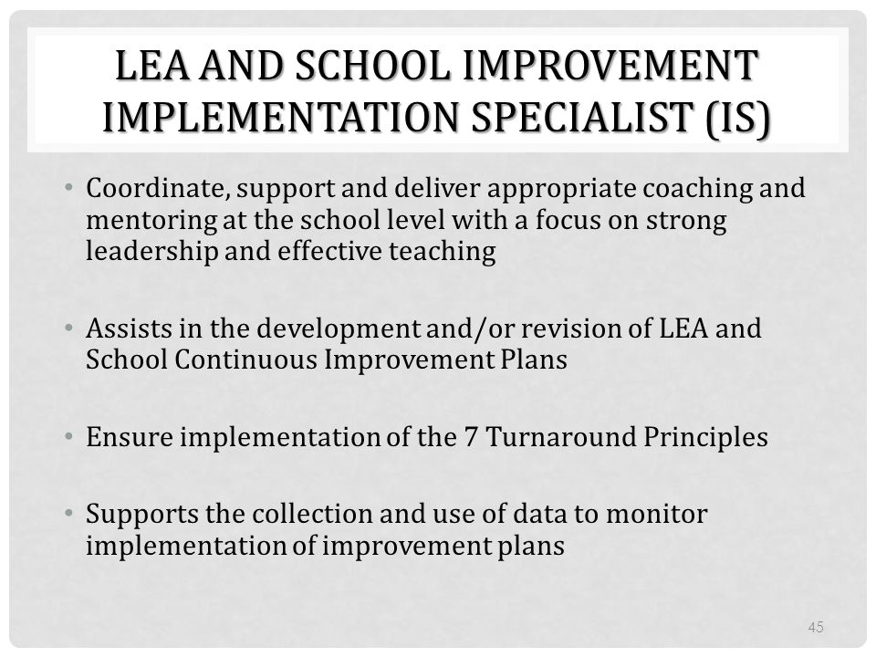 LEA and School Improvement Implementation Specialist (IS)
