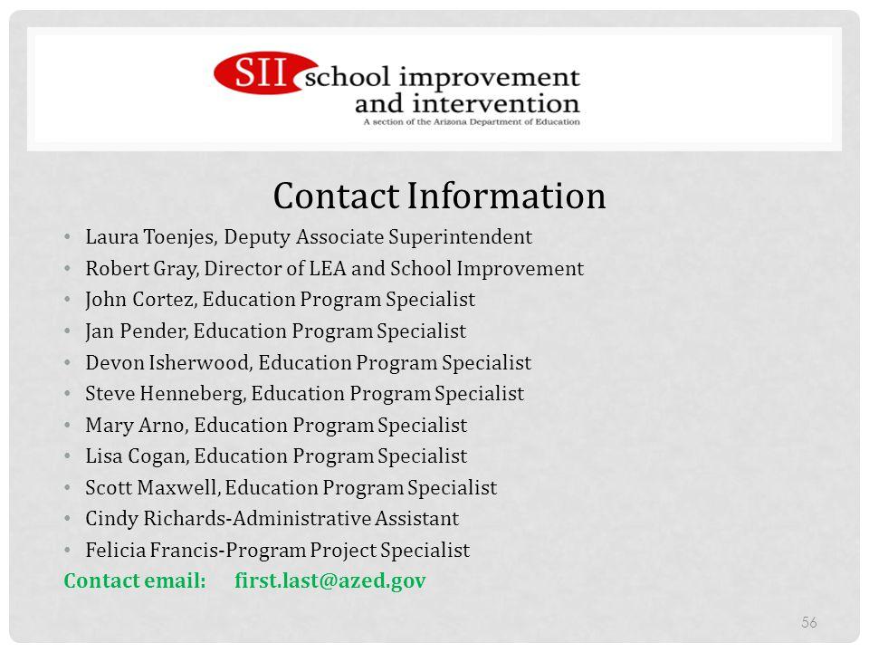 Contact Information Laura Toenjes, Deputy Associate Superintendent. Robert Gray, Director of LEA and School Improvement.