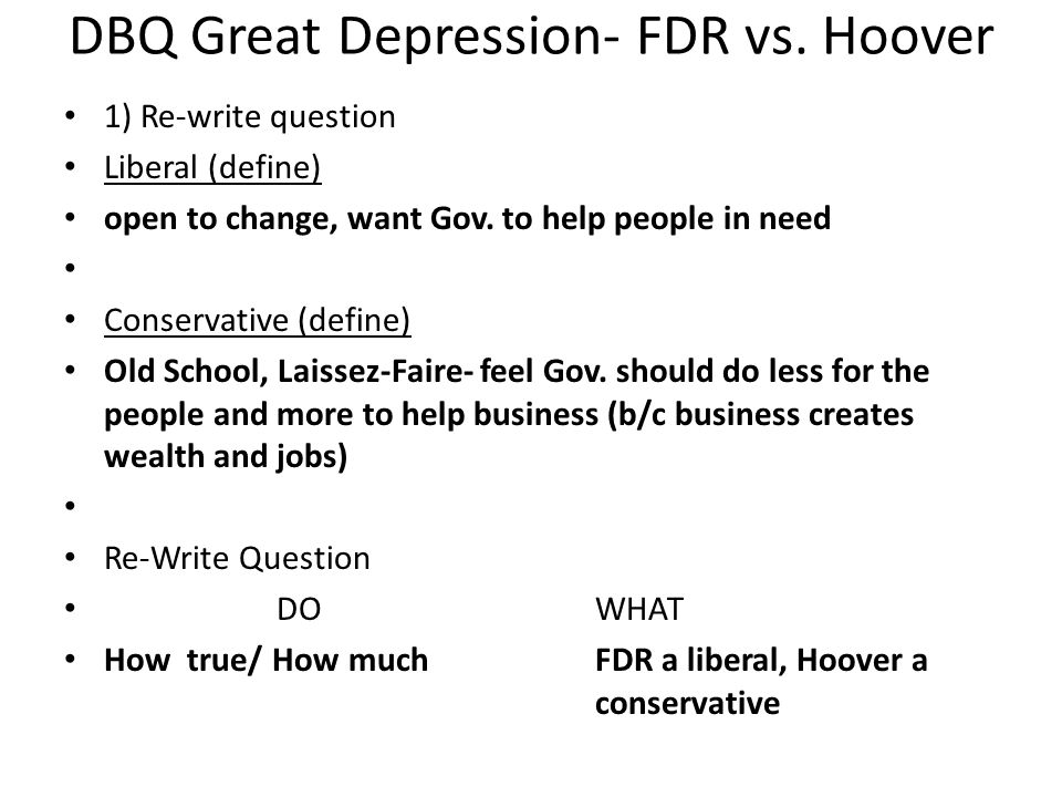 DBQ Great Depression- FDR vs. Hoover