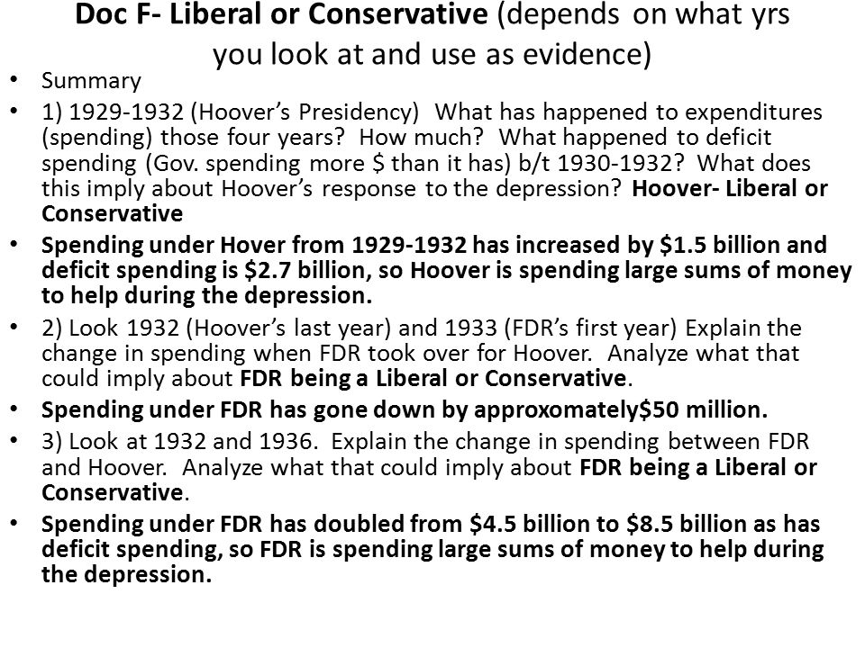 Doc F- Liberal or Conservative (depends on what yrs you look at and use as evidence)