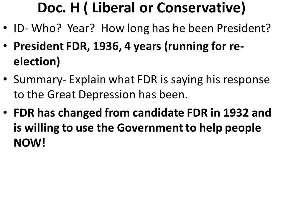 Doc. H ( Liberal or Conservative)