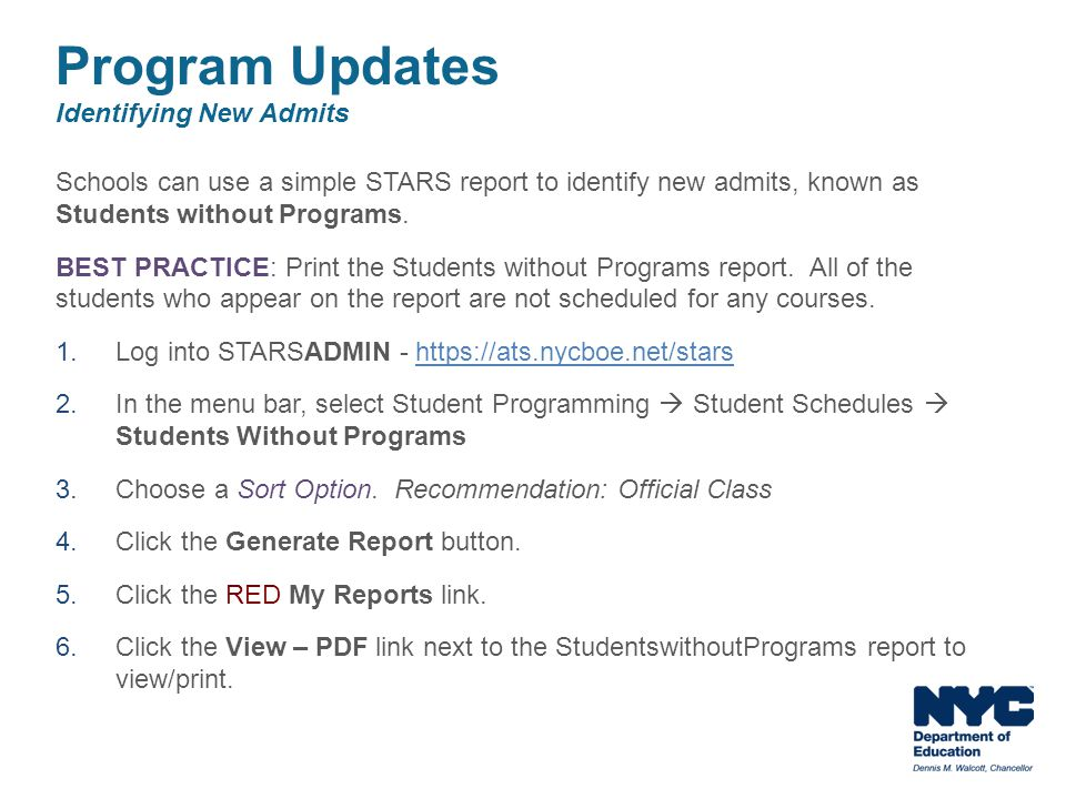 Program Updates Identifying New Admits