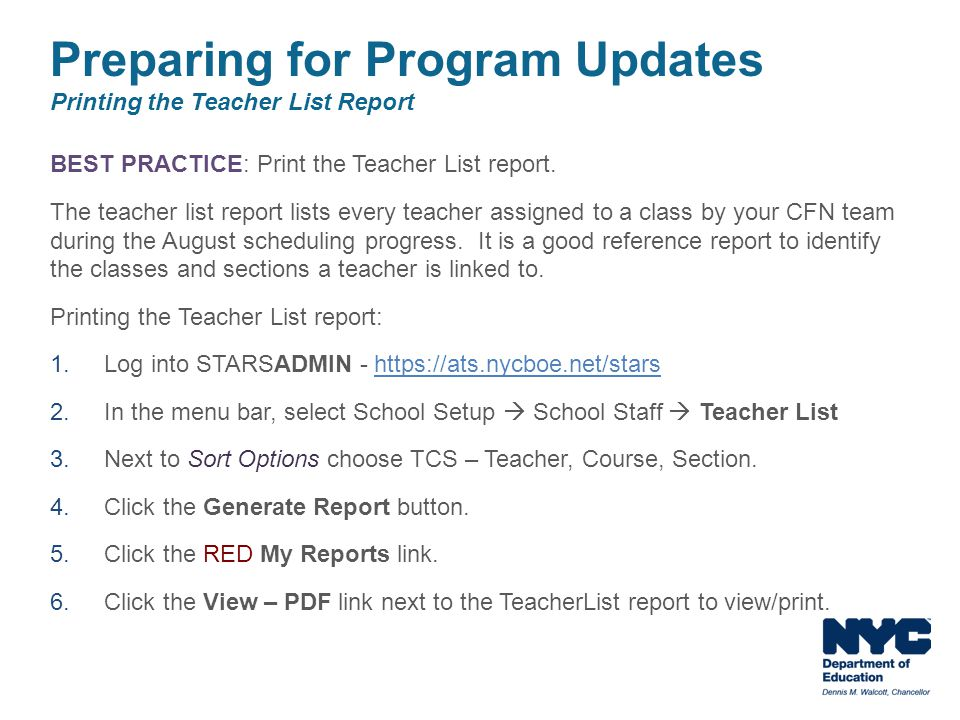 Preparing for Program Updates Printing the Teacher List Report
