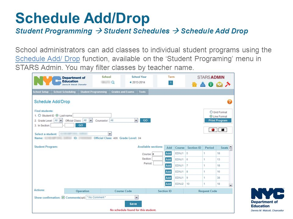 Schedule Add/Drop Student Programming  Student Schedules  Schedule Add Drop